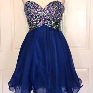 Blush royal blue size 4 strapless prom dress